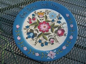 Wooden plate,10 3 4,hand painted Norwegian Good health,good friends folk art