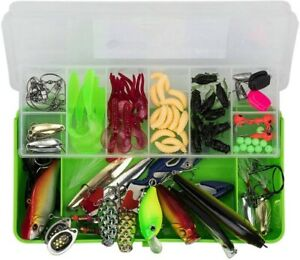 100 Pc Fishing Lure Set with Tackle Box Saltwater and Freshwater Lures Durable