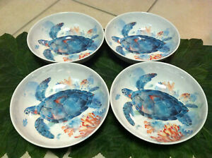 New Set of 4 Mainstays Turtle Melamine Serving Salad Bowls Sealife 8