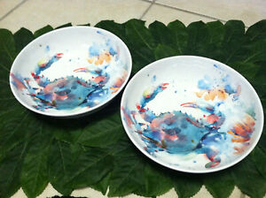 New Set of 2 Mainstays Crab Melamine Serving Salad Bowls Sealife 8