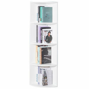 New Basicwise Wall Corner 4 Tier Shelves Bookcase