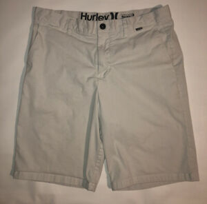 Hurley for Buckle Dri Fit Flat Front Casual Shorts White Striped Men's Size 33 $21.99