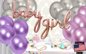 BABY GIRL Rose Gold Foil+18 Chrome Balloon *Cursive Style,Baby Shower Decoration