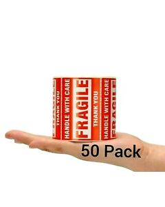 FRAGILE Handle With Care Stickers 2 x 3 50 Count 50 Shipping Labels $2.99