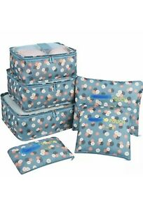 7 Set Packing Cubes Travel Organizers Accessories Blue Flowers