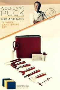 Wolfgang Puck 12 PC Garnishing Set Red Case NEW MISSING Twin Curl Cutter HANDLE