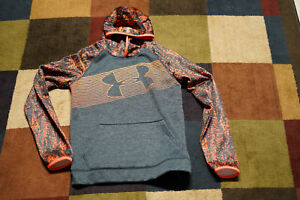 Boys Hoodie Sweatshirt by UNDER ARMOUR Sz Youth L Gray Orange Digital camo $13.95
