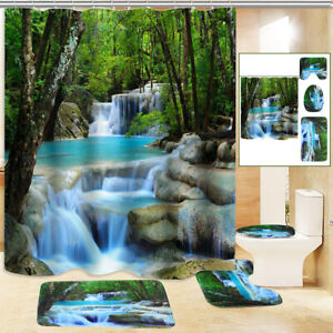 3D Waterfall Shower Curtain Non-Slip Bathroom Toilet Cover Lid Rug Mat Doorrmat