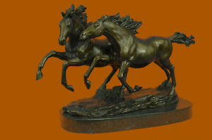 Horse Lovers Real Bronze Horses Dual Bust Sculpture Statue Equestrian Decor Sale $389.00