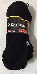 Under Armour Performance 6 Pair Men's Cotton No Show Socks Large Black 3185 $19.99