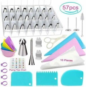 Cake Making Tools Frosting Nuzzles/Cups/Pastry Bags Candy Making Molds 57Pcs Set