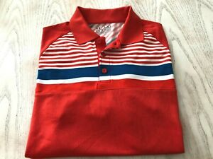 NICE UNDER ARMOUR RED WHITE BLUE STRIPED SHORT SLEEVE GOLF POLO SHIRT MENS M $11.99