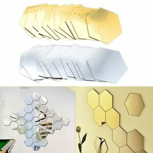 12Pcs 3D Mirror Wall Stickers Hexagon Vinyl Removable Decal Home Decor DIY Hot