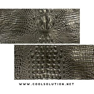 Embossed Leather Crocodile Black Leather Sheets for Crafters Wallets Bags