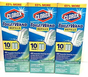 Lot 3 Clorox Toilet Wand  Disinfecting Refills Rainforest Rush 30 Total NIP