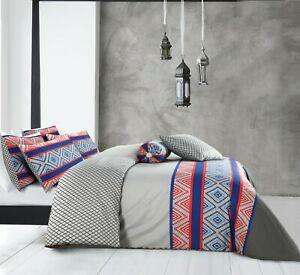 Cotton Reversible Grey Duvet Doona Quilt Cover King Size With Pillowcases Set