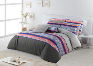 Cotton Reversible Doona Duvet Quilt Cover With Pillowcases Set All Sizes