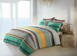 Doona Duvet Quilt Cover With Pillowcases Set Cotton Reversible Elegance