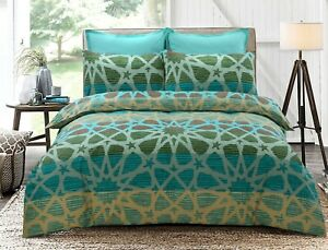 Oasis Doona Quilt Duvet Cover Queen Size With Pillowcases Set Cotton Blend