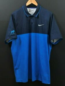 NIKE GOLF Men's Major Moment Fly Blue Polo Shirt DRI FIT Short Sleeve sz L Large $19.99