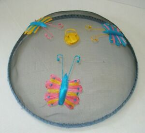 Vintage Picnic Food Cover Dome Mesh Butterflies Screen Outdoor Food Cover 14x14