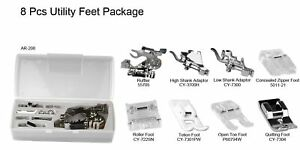 8 Piece Utility Sewing Feet Package Includes Low amp; High Shank Adaptor $19.99