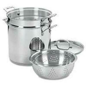 Chef's Classic Stainless Steel 4-Piece 12-Quart Pasta/Steamer Set Heats Quickly
