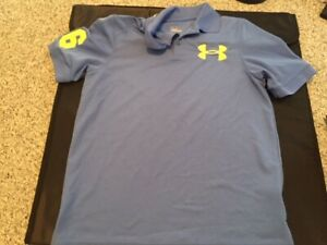 Boy's UNDER ARMOUR Blue Youth Large Loose Fit Heatgear Polo Shirt Free Ship! $10.95