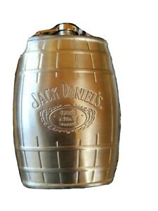 Jack Daniels Stainless Steel Hip Flask And Plastic Shot Glasses