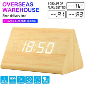 Modern Wooden Wood Digital LED Desk Alarm Clock Thermometer Time Date USA NEW GT