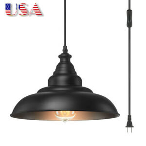 Hanging Pendant Lamp,Plug in Cord and On/Off Switch Hanging Ceiling Light