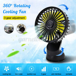 360 Rotating 3 Speed USB Cooling Fan Car Suction Cup 12V Fan For Truck SUV/RV