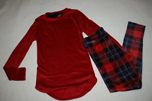 Womens BASE LAYER SET Stretch Velour RED L S TOP Plaid Leggings S M L XXL $24.00