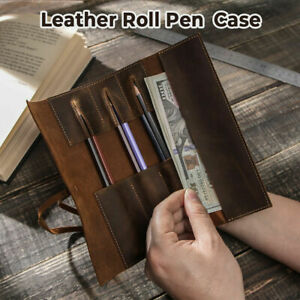 Handcrafted Genuine Leather Pen Pouch Roll Up Pencil Case Bag Curtain Vintage