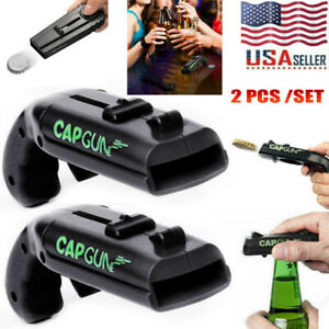 2 PCS Firing Cap Gun Can Opener Flying Cap Launcher Beer Drink Bottle Opener US