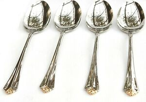 4 ONEIDA GOLDEN JUILLIARD  CUBE STAMP GLOSSY  STAINLESS OVAL SOUP SPOONS