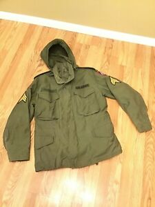 Vintage Military Army Green Field Jacket Coat Hood Size S M Patches Sargent $74.95