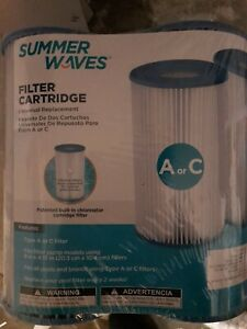 Brand New Summer Waves® A/C Swimming Pool Filter Cartridge 2 Pack Fast Ship!