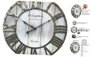 Westzytturm Wood Wall Clocks Decorative Living Room 18 inch Battery Operated Non