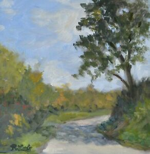 Forest Road, Woods,Tree Casting Shadow, Original Oil Painting