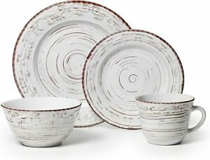 Dinnerware Trellis White 16 Piece Pottery Set for 4 Casual Formal Durable Dishes $74.99