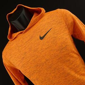 Kids Boys Nike Dri Fit Orange Hoodie Athletic Pullover Sweat Shirt Size Large L $19.99