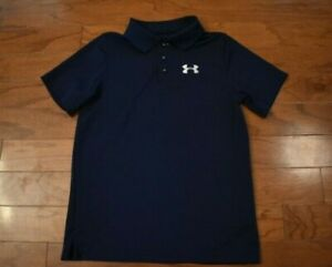 Boy's UNDER ARMOUR Navy Blue White Polo Golf Shirt Size Youth Medium M $10.50