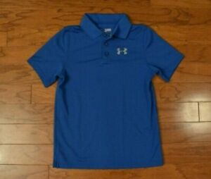 Boy's UNDER ARMOUR Blue Gray Golf Polo Shirt Size Youth Medium M $10.50