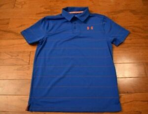 Boy's UNDER ARMOUR Blue Red Striped Polo Golf Shirt Size Youth Medium M $12.00