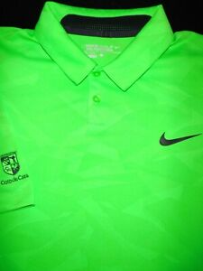 NIKE GOLF POLO SHIRT L LIME GREEN GEO CAMO DRI FIT STRETCH TOUR PERFORMANCE $14.50