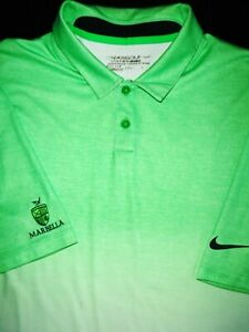 NIKE GOLF POLO SHIRT L LIME GREEN WHITE DRI FIT STRETCH TOUR PERFORMANCE $15.50