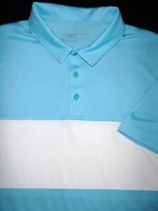 NIKE GOLF POLO SHIRT L AQUA BLUE WHITE STRIPE DRI FIT ATHLETIC PERFORMANCE $20.50
