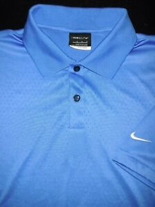NIKE GOLF POLO SHIRT M BLUE METALLIC SHINY DRI FIT PERFORMANCE FIT DRY POLY $8.99