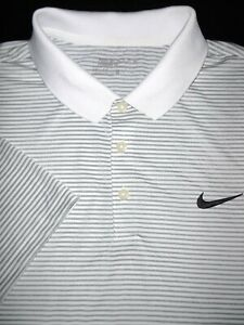 NIKE GOLF POLO SHIRT XL WHITE SILVER STRIPE DRI FIT POLY STRETCH PERFORMANCE $15.50